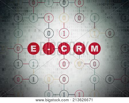 Finance concept: Painted red text E-CRM on Digital Data Paper background with Binary Code