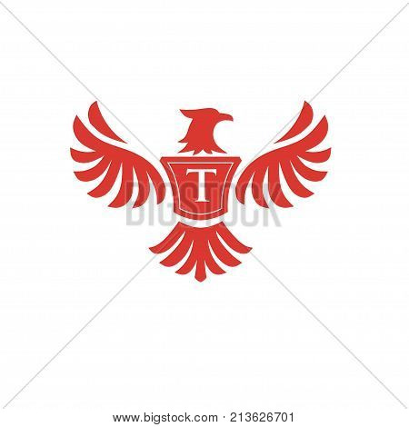 elegant phoenix with letter T consulting logo concept, eagle with letter T logo concept