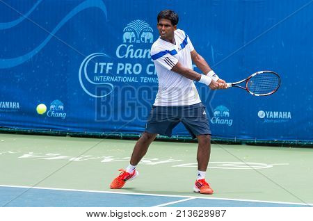 BANGKOK June 24 : Karanuday Singh of India action in Chang ITF Pro Circuit International Tennis Federation 2015 at Rama Gardens Hotel on June 24 2015 in Bangkok Thailand.
