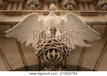Detail of the entrance of an old house in Dresden Germany
