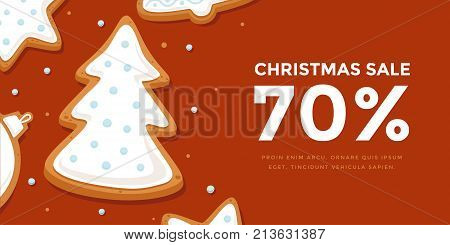 Horizontal banner Christmas sale with gingerbread Christmas tree in glaze. Template New year gift certificate and discount coupon. Vector illustration.