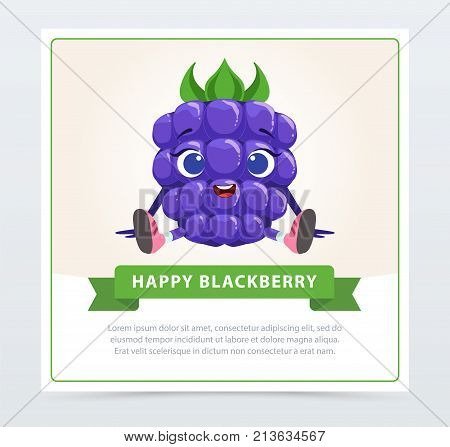 Cute humanized bramble berry character, happy blackberry banner flat vector element for website or mobile app with sample tex