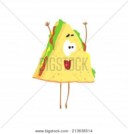 Funny sandwich cartoon fast food character, element for menu of cafe, restaurant, kids food, vector Illustration on a white background