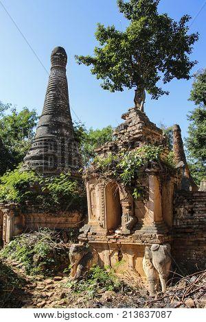 Shwe Inn Dain Pagoda complex in Indein village Inle Lake Myanmar (Burma)
