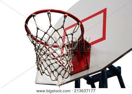 basketball hoop viewed from belowfocus on red zone outdoor