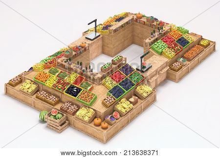 Market stalls with fruits and vegetables, fresh food, Isolated on white background, Fruit display. Banner for vegetable or fruit market, store, trade counter. 3d render