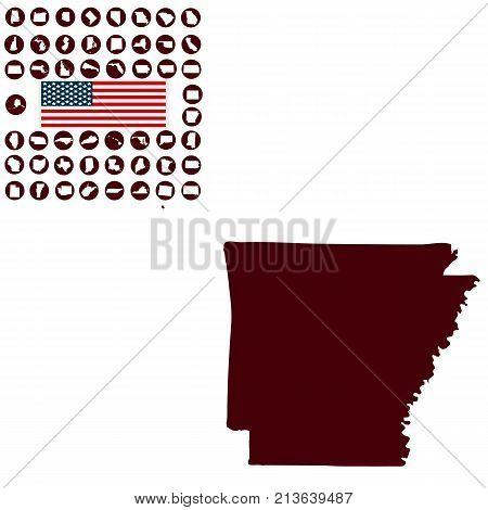 Map of the U.S. state of Arkansas on a white background