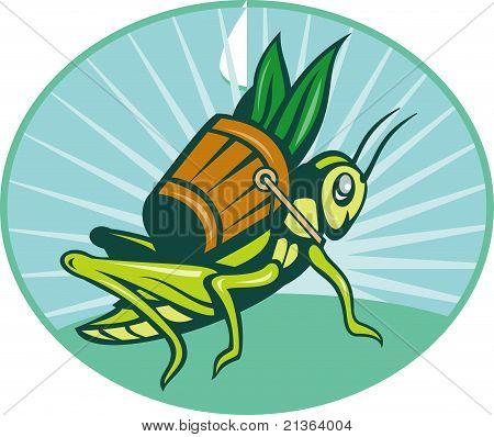 poster of illustration of a Grasshopper carrying basket with leaves with sunburst in background set inside ellipse