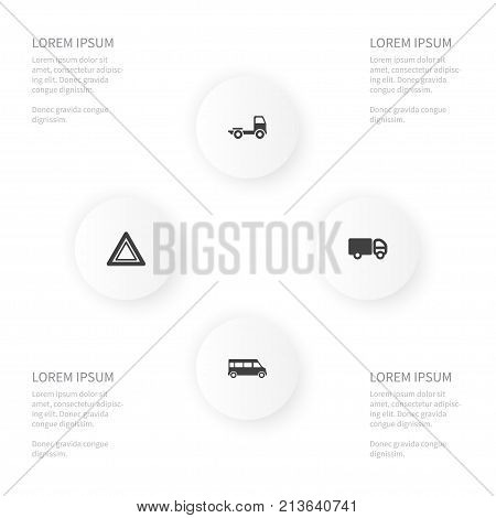 Icon Transportation Set Of Camion, Trailer, Autobus And Other Vector Objects