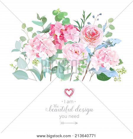 Floral design vector border in watercolor style. Rose, hydrangea, eucalyptus. Pink wedding flowers. Botanical greenery set. Bouquets of garden spring flowers. All elements are isolated and editable.