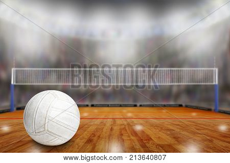 Volleyball Arena With Ball On Court And Copy Space