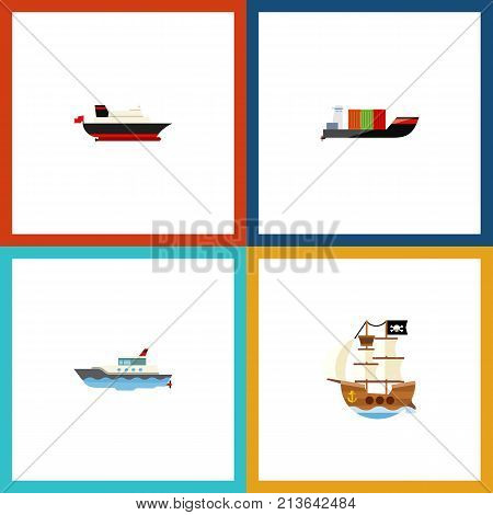 Flat Icon Vessel Set Of Cargo, Vessel, Sailboat And Other Vector Objects