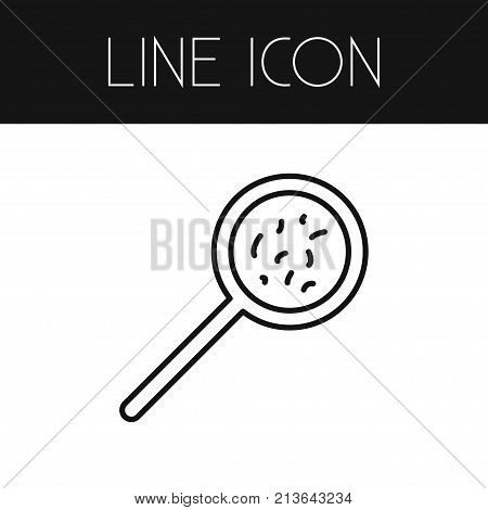 Bacterium Vector Element Can Be Used For Magnifying, Glass, Bacterium Design Concept.  Isolated Magnifying Glass Outline.