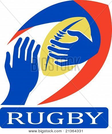 rugby ball with hand holding