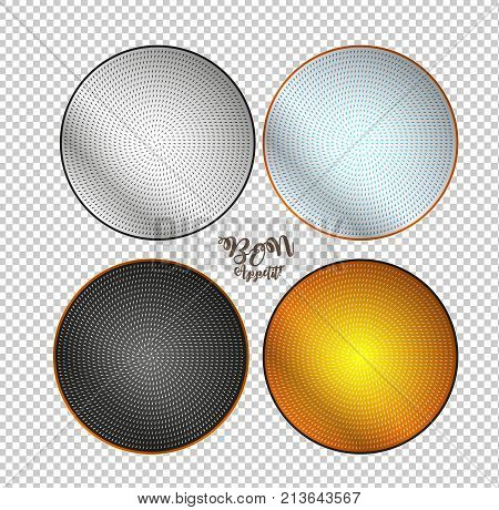 Bon Appetite. Empty Plates On A Checkered Background. Plates With A Geometric Pattern.