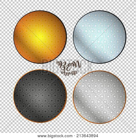 Bon Appetit. Empty Plates On A Checkered Background. Plates With A Geometric Pattern.
