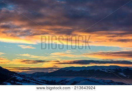 Gorgeous Sky On Winter Sunrise In Mountains