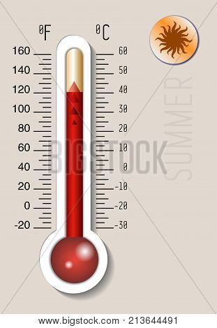 Celsius And Fahrenheit Meteorology Thermometer Measuring Heat And Cold, Vector Illustration. Thermom