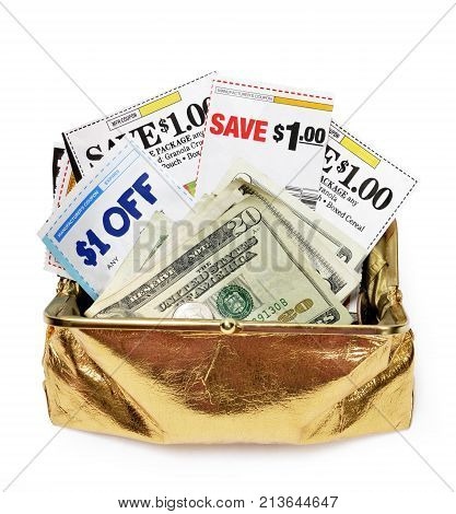 Vertical overhead shot of an open gold metallic coin purse filled with coupons and cash on a white background.