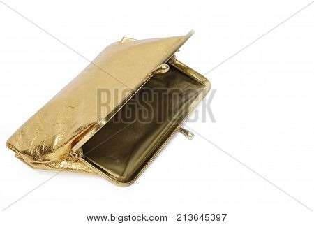 Horizontal shot of an open empty gold metallic coin purse on a white background with copy space to the right of the purse.