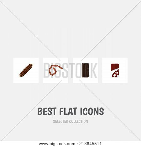 Flat Icon Eating Set Of Bratwurst, Confection, Fizzy Drink And Other Vector Objects