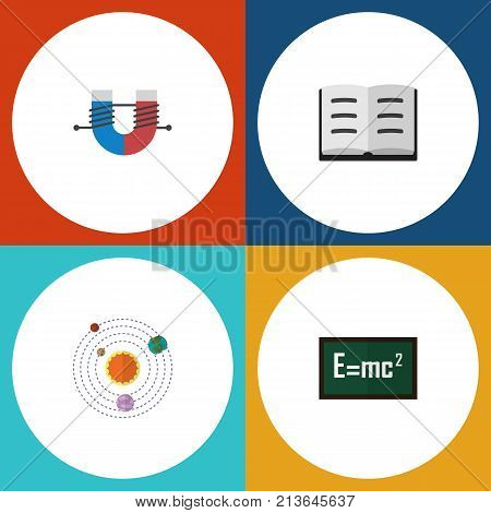 Flat Icon Study Set Of Attractive Force, Theory Of Relativity, Lecture And Other Vector Objects