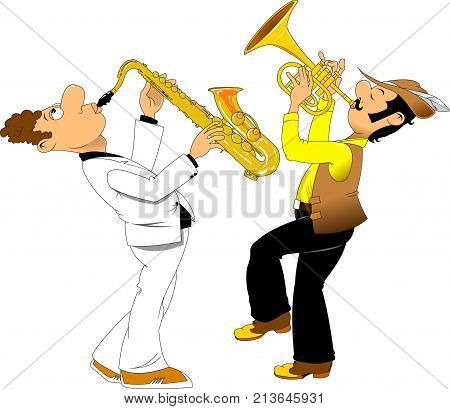 cheerful trumpeter in a hat and saxophonist in dress coat vector