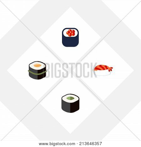 Flat Icon Maki Set Of Sushi, Salmon Rolls, Eating And Other Vector Objects