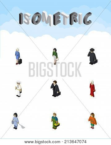 Isometric Person Set Of Seaman, Pedagogue, Lady And Other Vector Objects
