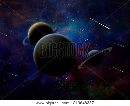 Exosolar planets and meteor shower. 3D rendering.