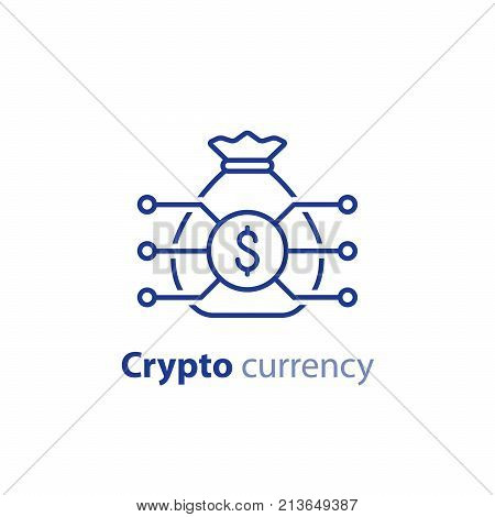 Crypto currency concept, money bag, financial item, investment portfolio, innovation technology, business start up, invest fund, vector line icon