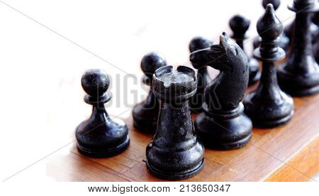 chess figures isolated on white background. selective focus