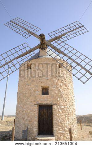 Stone Windmill In Belmonte Countryside