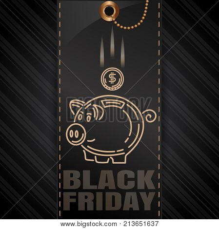 Black Friday Sale design template. Pig piggy bank on a black background. Black Friday card. Vector illustration
