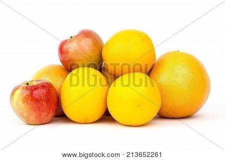 The fruit arange on the white backgrounde