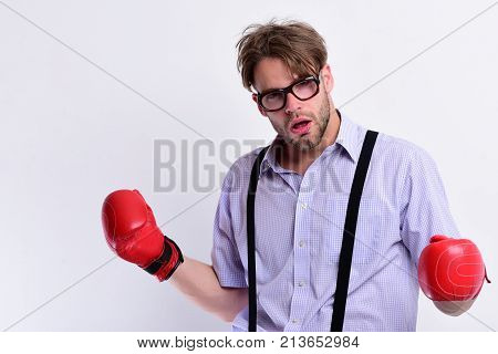 Boxing And Comic Conflict Concept. Weak Guy Makes Hits