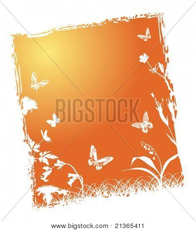 illustration with butterflies and flowers under bright sun