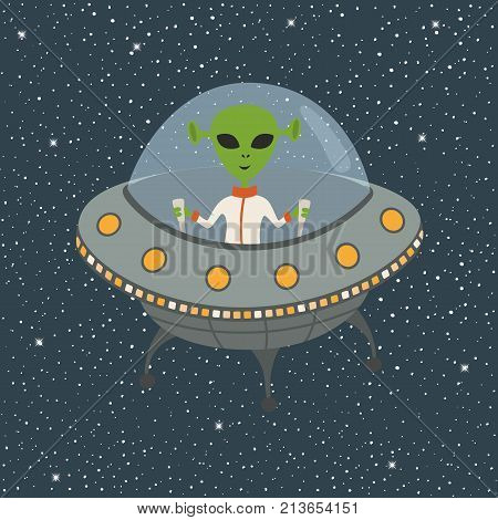 Cartoon Alien flying in space in a flying saucer