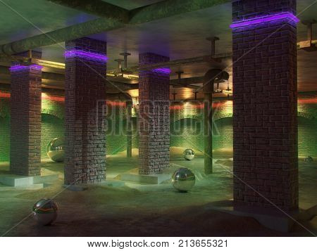 Empty basement room interior. Concrete floor, walls of red brick. Neon lights of the room. Sewer pipes in home basement. Architecture background. 3d render illustration.