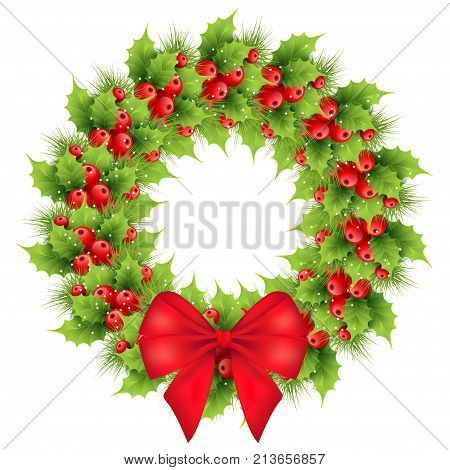 Christmas wreath with red bow realistic holly fir tree branches. Holiday ilex shining snowflakes winter decoration element. isolated vector illustration on a white background