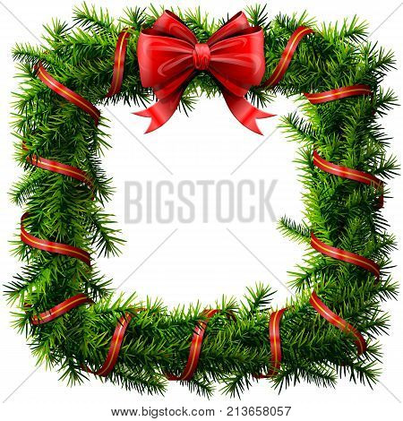 Christmas square wreath with red bow and ribbon. Decorated rectangle frame of pine branches isolated on white. Best vector image for new years day christmas decoration winter holiday design