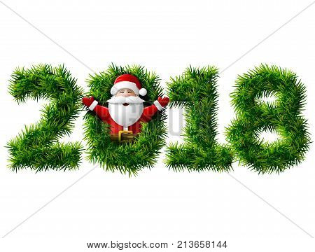 New Year 2018 of christmas tree branches isolated on white. Waist up portrait of Santa Claus with his hands up. Vector image for new years day christmas winter holiday new years eve silvester