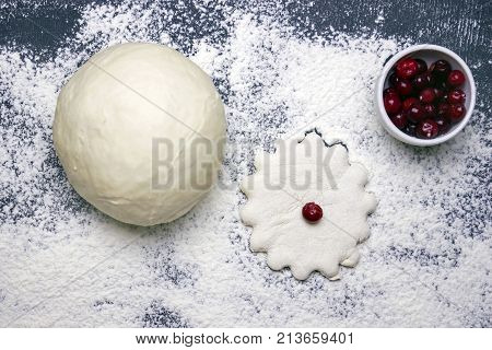 An overhead photo of wheat dough cuttered cookie and some frozen cranberries. Sprinkled flour on the dark background. Selective soft focus. Dough ready for cooking sweet pie pastry with cowberries