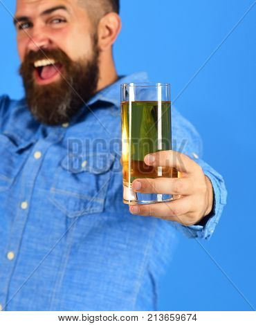 Farmer With Happy Face Holds Fresh Apple Juice, Close Up.