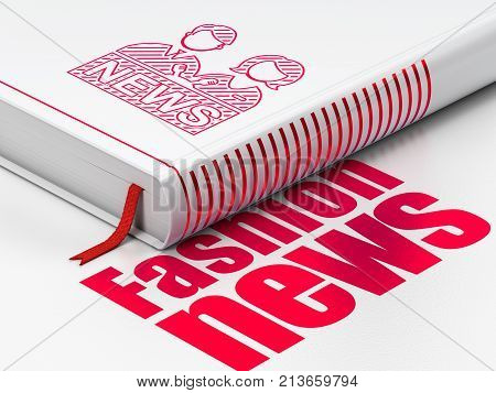 News concept: closed book with Red Anchorman icon and text Fashion News on floor, white background, 3D rendering