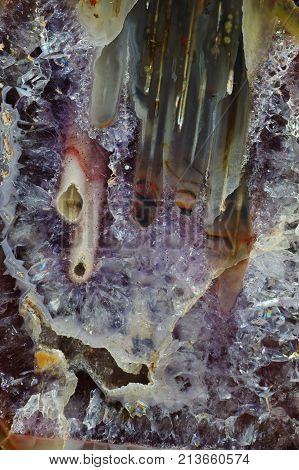 Macrophotography of cut agate. Silk-filled stalactite agate. Origin: Rudno near Krakow Poland.