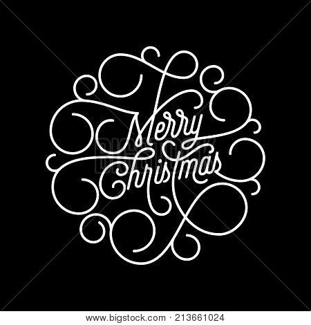 Merry Christmas Flourish Calligraphy Lettering Of Swash Line Typography For Greeting Card Design. Ve