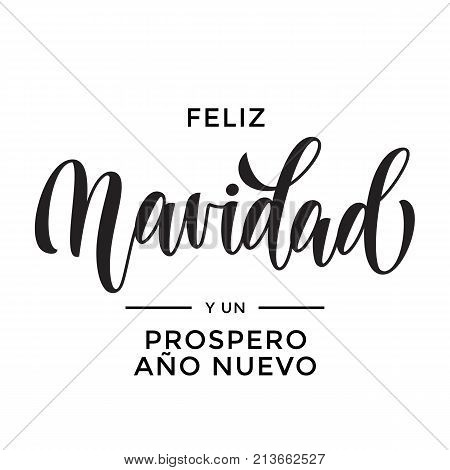 Merry Christmas And Happy New Year Feliz Navidad Y Prospero Ano Nuevo Hand Drawn Calligraphy Modern