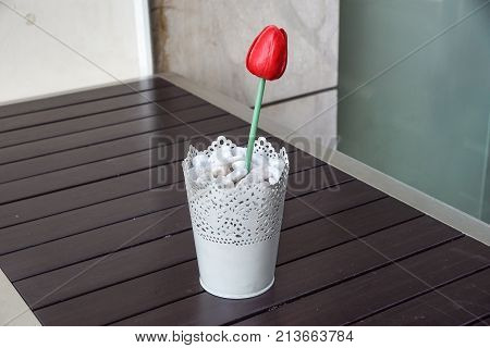 red siam tulip flower in vase on wood table for decoration and interior .