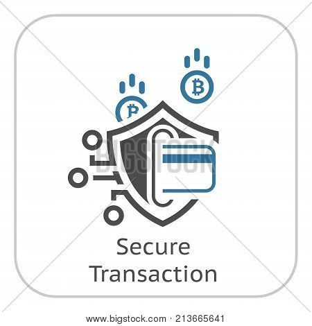 Bitcoin Secure Transaction Icon. Modern computer network technology sign. Digital graphic symbol. Card Processing. Concept design elements.